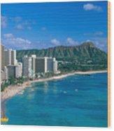 Diamond Head And Waikiki Wood Print