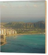 Diamond Head Crater - Waikiki Afternoon Wood Print