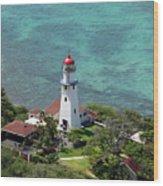 Diamond Head Lighthouse Wood Print