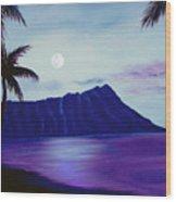 Diamond Head Moon Waikiki #34 Wood Print