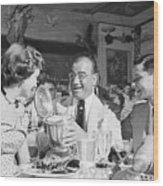 Diamond Jim Moran, Entertaining Guests At His Restaurant In New  Wood Print
