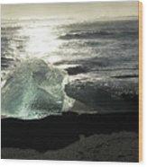 Diamond On Diamond Beach Black Sand Waves Clouds Iceland 2 2162018 1985.jpg Wood Print