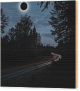 Diamond Ring Solar Eclips Over Route 66 By Adam Asar 3 Wood Print
