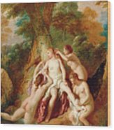 Diana And Her Nymphs Bathing Wood Print
