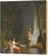 Diana At The Fountain Wood Print