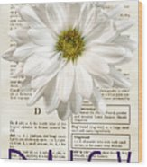 Dictionary Daisy Wood Print