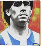 Diego Maradona By Nixo Wood Print