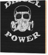 Diesel Power Gas Mask Skull Truck Offroad White Distressed Wood Print