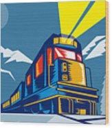 Diesel Train Winter Wood Print by Aloysius Patrimonio
