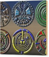 Digital Art Dials Wood Print