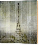 Digital-art Paris Eiffel Tower Geometric Mix No.1 Wood Print by Melanie Viola