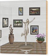 digital exhibition _ A sculpture of a dancing girl 12 Wood Print