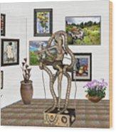 Digital Exhibition _ Modern  Statue   Of Dancing Girl Wood Print