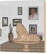 Digital Exhibition _  Sculpture Of A Lion Wood Print