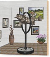 digital exhibition _ Statue  of fish  12 Wood Print