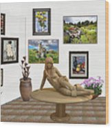digital exhibition _Statue 1 of posing girl 221 Wood Print