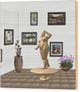 digital exhibition  Statue 23 of posing lady  Wood Print