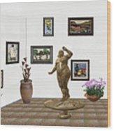 digital exhibition  Statue 25 of posing lady  Wood Print