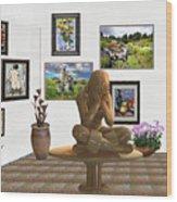digital exhibition _Statue 5 of posing girl 221 Wood Print