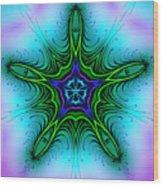 Digital Kaleidoscope Green Star 001 Wood Print