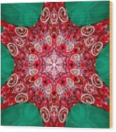 Digital Kaleidoscope Red-green-white 8 Wood Print