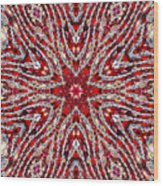 Digital Kaleidoscope Red-white 4 Wood Print
