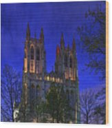 Digital Liquid - Washington National Cathedral After Sunset Wood Print by Metro DC Photography