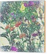 Digital Pencil Sketch Flowers Wood Print