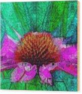 Digital Pink Echinacea  Wood Print