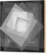 Digital Rose. Black And White Wood Print