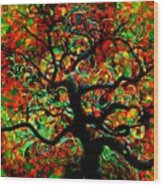 Digital Tree Impressionism Pixela Wood Print