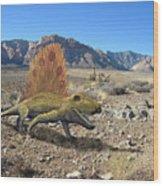 Dimetrodon In The Desert Wood Print