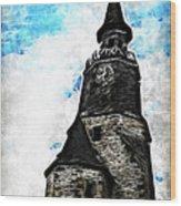 Dinan Clock Tower Wood Print