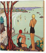 Dinard, French Riviera, Two Swimmers  Wood Print