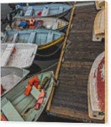 Dinghies At Town Wharf Wood Print