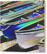 Dinghies On Beach Wood Print