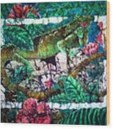Dining At The Hibiscus Cafe - Iguana Wood Print