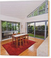 Dining Room With Slanted Ceiling Wood Print