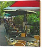 Dining Under The Umbrellas Wood Print