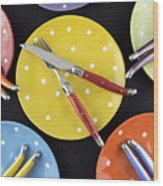 Dinner Party Table Setting Wood Print