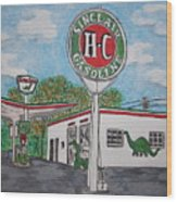Dino Sinclair Gas Station Wood Print