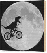 Dinosaur Bike And Moon Wood Print