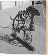 Dinosaur Biking Sculpture Grand Junction Co Wood Print