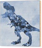 Dinosaur Rex-blue Wood Print