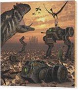 Dinosaurs And Robots Fight A War Wood Print