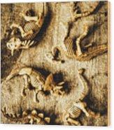 Dinosaurs In A Bone Display Wood Print