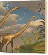Diplodocus Dinosaur Romance Wood Print