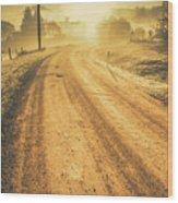 Dirt Road Sunrise Wood Print