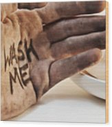 Dirty Hand With Soap Wood Print