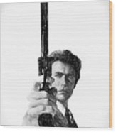 Dirty Harry Charcoal Wood Print